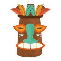 Masque en bois tribal tiki tropical isolé sur fond blanc vecteur
