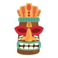 Décoration de masque en bois tribal tiki isolé sur fond blanc vecteur