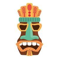 Masque antique en bois tribal tiki isolé sur fond blanc vecteur
