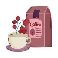 méthodes de préparation du café, emballage du produit et tasse contenant des graines vecteur