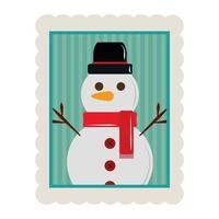 Joyeux Noël bonhomme de neige avec icône de timbre de décoration de personnage de chapeau vecteur