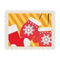 Joyeux Noël mitaines et icône de timbre décoration bas vecteur