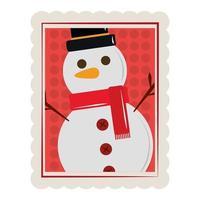 Bonhomme de neige de dessin animé joyeux Noël avec icône de timbre de décoration écharpe vecteur