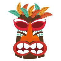 Masque en bois tribal polynésien tiki isolé sur fond blanc vecteur