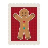 joyeux noël homme en pain d'épice dessin animé décoration timbre icône vecteur