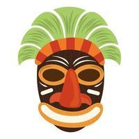 Masque de sculpture sur bois tribal tiki isolé sur fond blanc vecteur