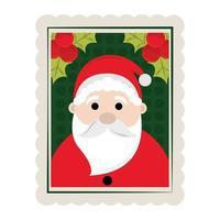 icône de timbre de décoration joyeux noël père noël et houx vecteur