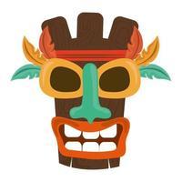 Masque en bois tribal tiki plume exotique isolé sur fond blanc vecteur
