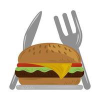 service de livraison rapide restaurant burger fourchette et couteau vecteur