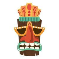 Ornement de masque en bois tribal tiki isolé sur fond blanc vecteur