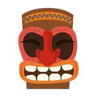 Masque primitif en bois tribal tiki isolé sur fond blanc vecteur