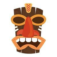 Élément de décoration masque en bois tribal tiki isolé sur fond blanc vecteur