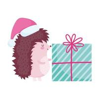 joyeux noël, hérisson mignon avec chapeau et cadeau dessin animé célébration icône isolement vecteur