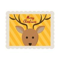 Icône de timbre de décoration de visage de renne mignon joyeux noël vecteur