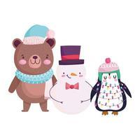 Joyeux Noël, bonhomme de neige ours mignon et isolement d'icône de dessin animé pingouin vecteur