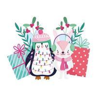joyeux noël, pingouin et lapin avec lumières et cadeaux célébration icône isolement vecteur
