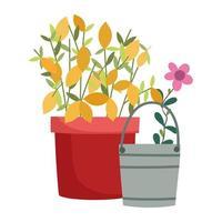 jardinage, arrosoir fleur et plante en pot style icône isolé nature