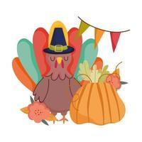 joyeux thanksgiving day, dinde avec chapeau de pèlerin célébration de fanions de fleurs de citrouille vecteur