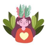 journée mondiale de la santé mentale, fille heureuse avec la nature du feuillage en tête vecteur