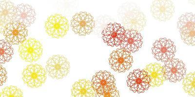 texture de doodle vecteur orange clair avec des fleurs.