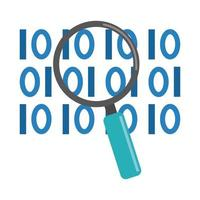 Analyse de données, icône plate de développement numérique binaire en forme de loupe