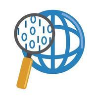 Analyse de données, icône plate de gestion sociale mondiale en forme de loupe