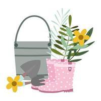 jardin heureux, bottes seau râteau pelle et fleurs vecteur