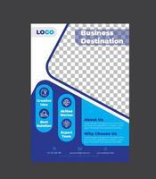 conception de modèle de flyer commercial de couleur bleue