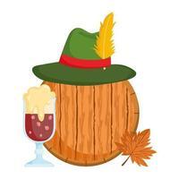 festival oktoberfest, chapeau de bière noire et tonneau en bois, fête traditionnelle allemande vecteur