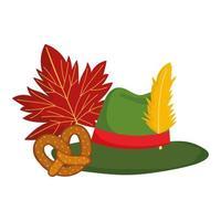 festival oktoberfest, bretzel chapeau allemagne et automne feuille, fête traditionnelle allemande