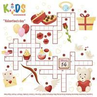 puzzle de mots croisés facile saint valentin vecteur