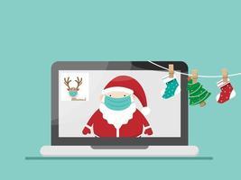 Père Noël et renne portant un masque chirurgical et en vidéoconférence vecteur