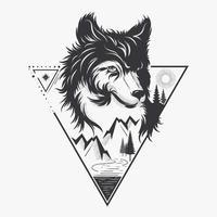 tête de loup avec la nature vecteur