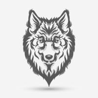 brosse d'art de tête de loup vecteur