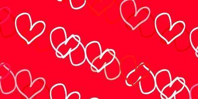 texture de vecteur rouge clair avec de beaux coeurs.