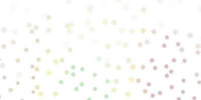 texture de doodle vecteur vert clair, rouge avec des fleurs.