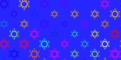 modèle vectoriel multicolore foncé avec des éléments de coronavirus