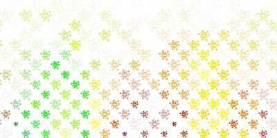 toile de fond de vecteur vert clair, jaune avec symboles de virus.