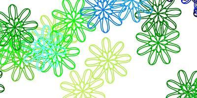 modèle de doodle de vecteur bleu clair, vert avec des fleurs.