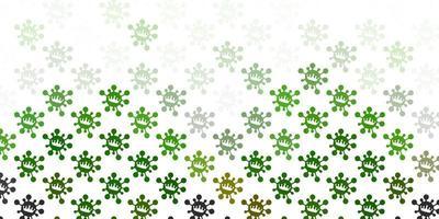 modèle vectoriel vert clair avec des éléments de coronavirus.