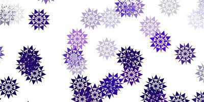 modèle vectoriel violet clair, rose avec des flocons de neige colorés.