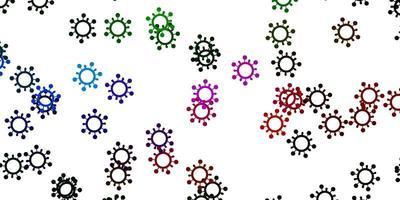 modèle vectoriel rose clair et vert avec des éléments de coronavirus.