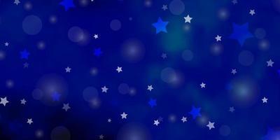 fond de vecteur bleu foncé avec des cercles, des étoiles.