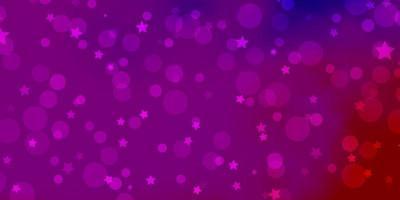 disposition de vecteur rose clair, bleu avec des cercles, des étoiles.