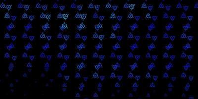 modèle vectoriel bleu foncé avec des signes ésotériques.