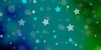 toile de fond de vecteur bleu clair, vert avec des cercles, des étoiles.