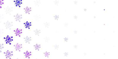 fond de vecteur violet clair avec symboles covid-19