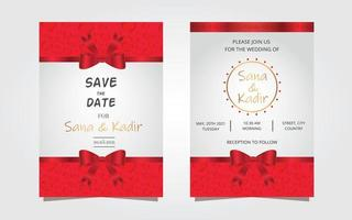 conception moderne d'invitation de mariage rouge. conception moderne de flyer invitation de mariage.