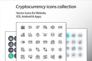 ensemble d & # 39; icônes de crypto-monnaie fine ligne vecteur
