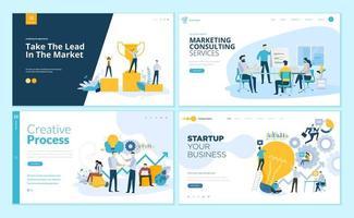 ensemble de modèles de conception de pages Web pour le processus créatif, le succès commercial et le travail d'équipe, le conseil en marketing vecteur